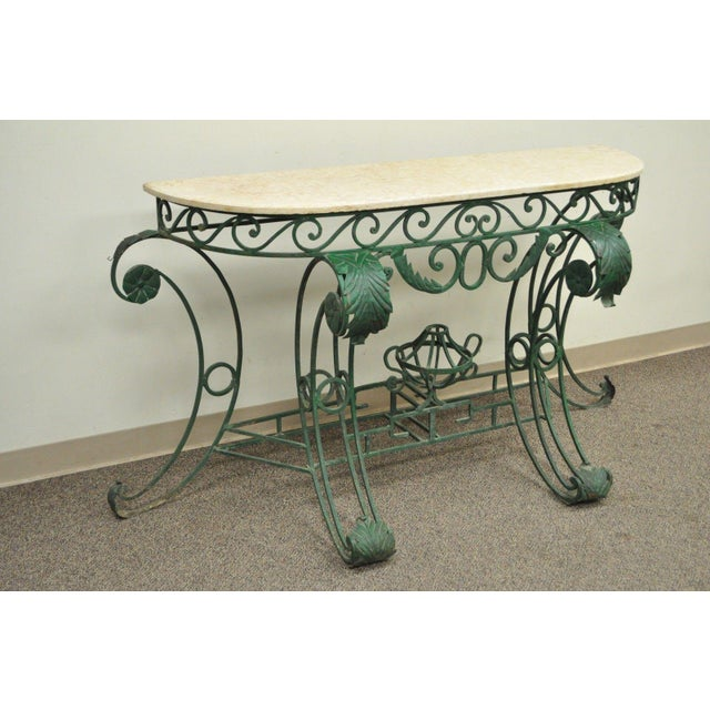 "65"" W Ornate Italian Regency Style Green Wrought Iron Marble Top Console Table - Image 3 of 11"
