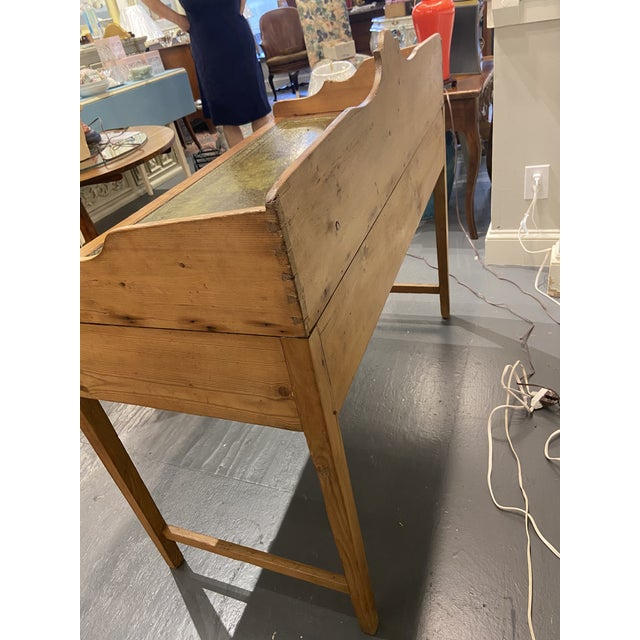 Antique Pine Writing Desk With Leather Top For Sale In Boston - Image 6 of 9