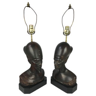 Haruil Bronzed Egyptian Pharaoh Table Lamps - Pair For Sale