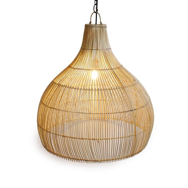 Natural raw wicker dome lantern. Modern vintage and organic style with simple single bulb. Great indoors or under cover...