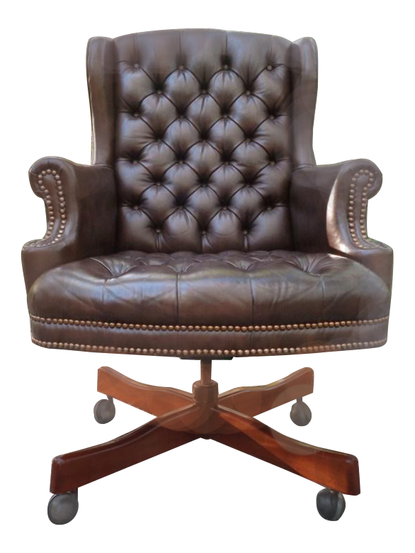 Vintage Tufted Brown Leather Executive Office Chair