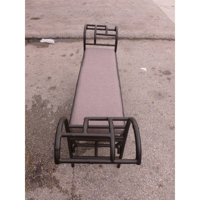 Metal 1990's Vintage Post Modern Chinese Chippendale Metal Bench For Sale - Image 7 of 12
