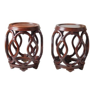 Late 20th Century Vintage Chinese Hardwood Stools- A Pair For Sale
