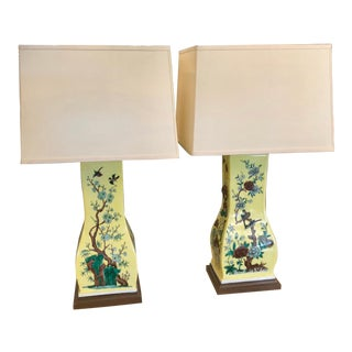 Pair of Art Deco Chinese Export Pottery Vases Now Richard Lindley Designer Lamps For Sale