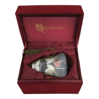 Original Glass Art Ornament in Velvet Box For Sale