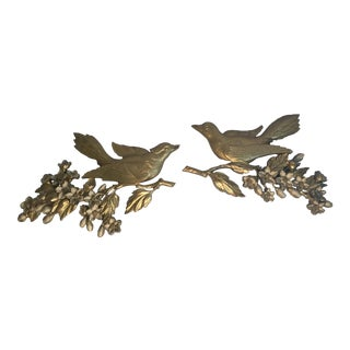 20th Century Hollywood Regency Gold Bird Wall Hangings - a Pair For Sale