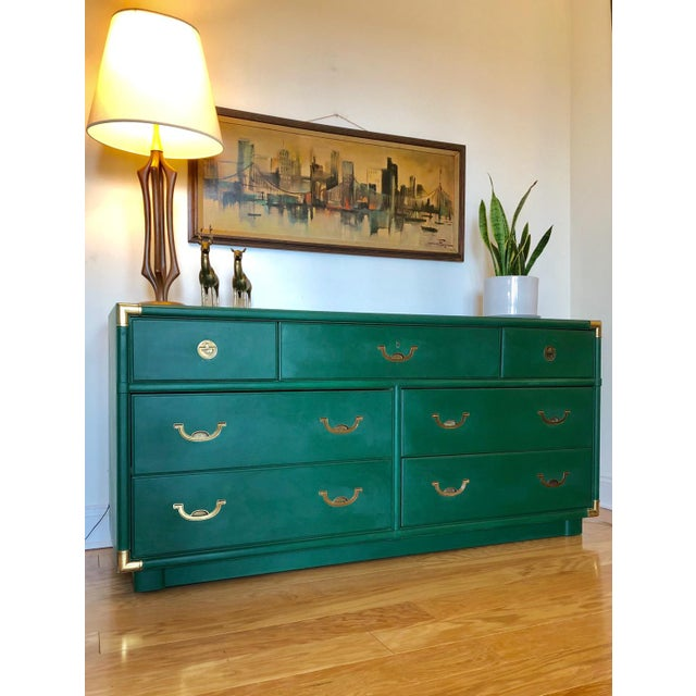 Now available is this campaign seven drawer dresser made by Drexel for the Accolade collection. This piece boasts gorgeous...
