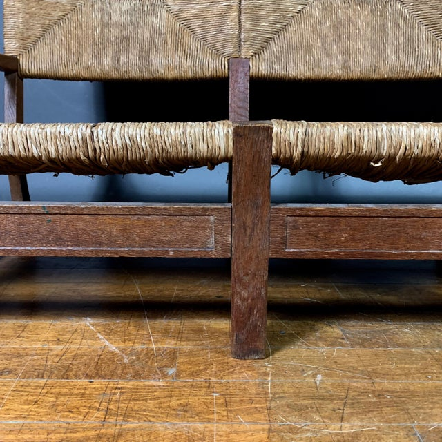Large 1940s Continental Woven Rush 3-Seat Settee For Sale - Image 4 of 13