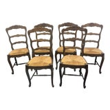 Image of Early 20th Century French Rush Seat Chairs- Set of 6 For Sale