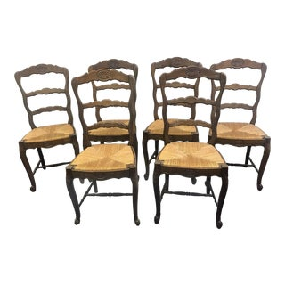 Early 20th Century French Rush Seat Chairs- Set of 6 For Sale