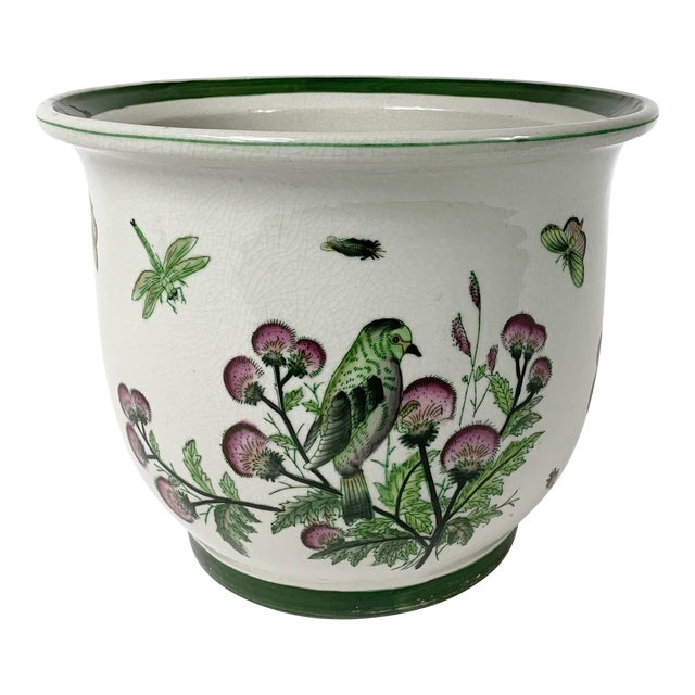 Late 20th Century Ceramic Floral Planter For Sale