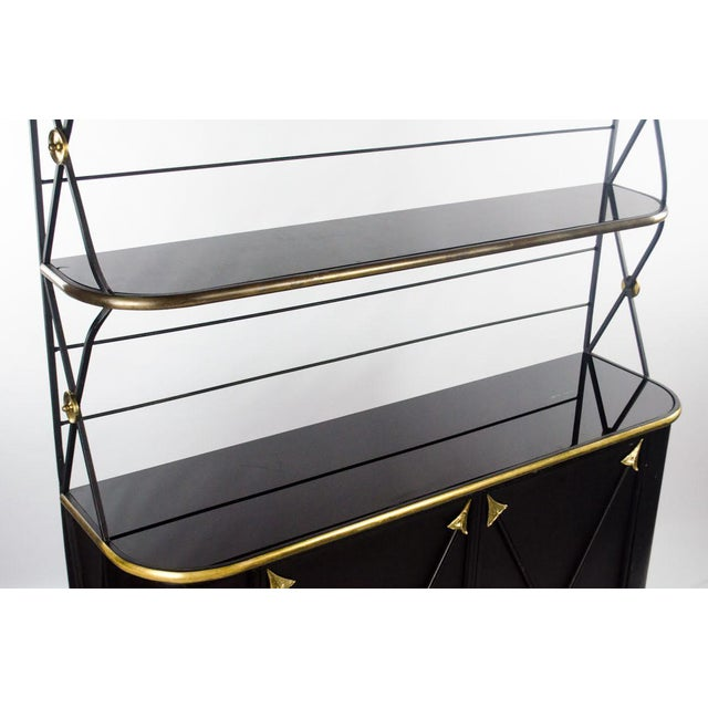 Modern Campaign Style Bakers Rack and Cabinet For Sale In Atlanta - Image 6 of 13