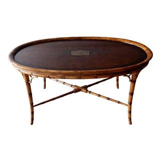 20th Century Boho Chic Regency Style Faux Bamboo and Leather Cocktail Coffee Table