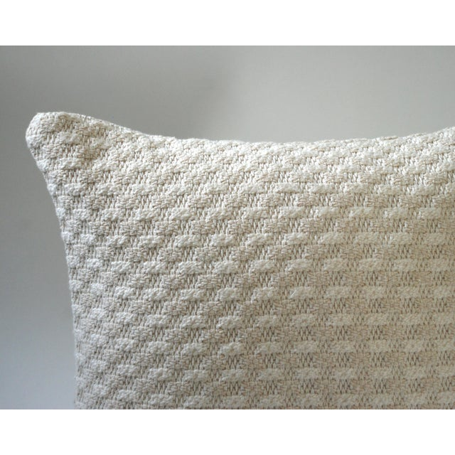Cloud Bobble is a heirloom quality, heavy, yarn-dyed woven Colors include cream with a subtle shimmer Invisible zipper...
