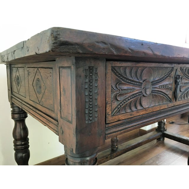 17th Century Spanish Refectory Table or Farm Table With Drawers For Sale - Image 9 of 10