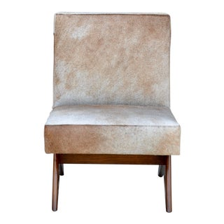 Late 20th Century Compas Oak and Natural Hide Slipper Chair For Sale