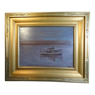 """1940s """"Tranquility"""" Nautical Oil Painting by Anders Aldrin, Framed For Sale"""