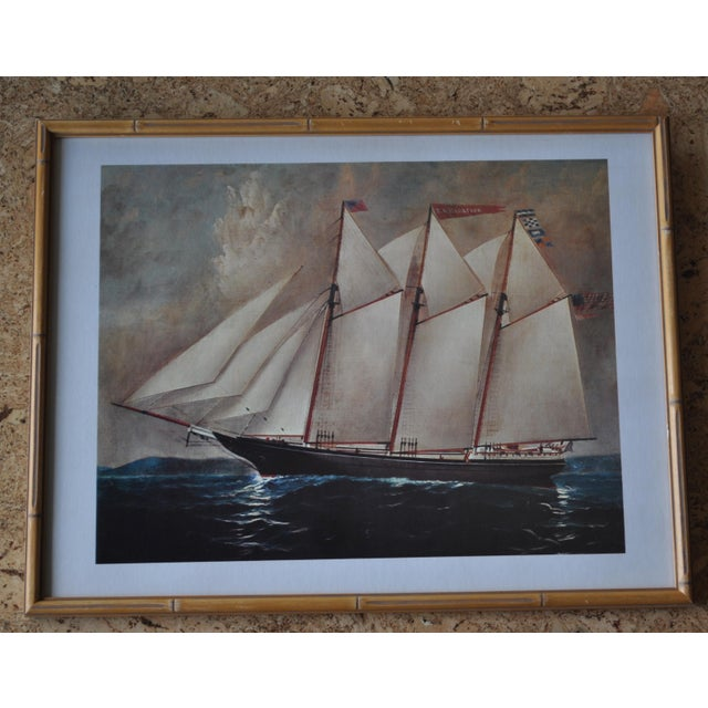 Vintage Nautical Ship Prints in Bamboo Frames - a Pair For Sale - Image 4 of 7