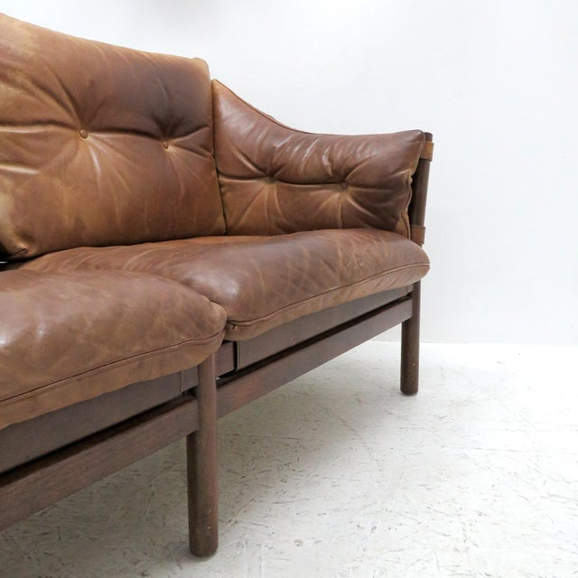 1960's Vintage 'Ilona' by Arne Norell Leather Settee For Sale - Image 12 of 13