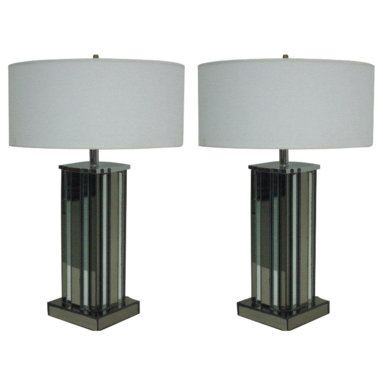 Pair Of Mid Century Modern Mirrored Skyscraper Table Lamps By Paul Frankl