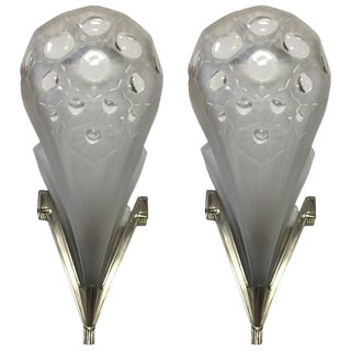 Muller Freres Signed French Art Deco Wall Sconces - A Pair For Sale