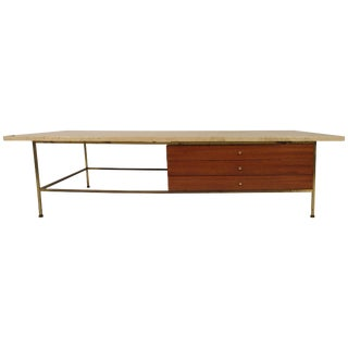 1960s Paul McCobb Travertine/ Brass Coffee Table for Calvin For Sale