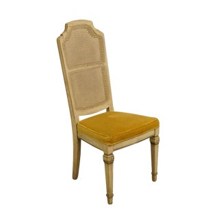 Stanley Furniture Set of Two French Provincial Antique White Cane Back Dining Side Chairs 2144-151 For Sale
