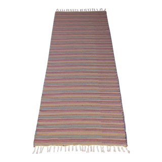 Turkish Flat Weave Wool Striped Pink Kilim Rug - 2'8'' X 7'6'' For Sale