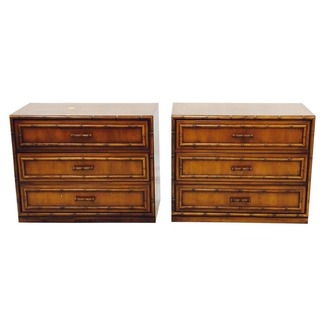 Vintage Mid-Century Bamboo Bedside Chests - A Pair - Image 1 of 10