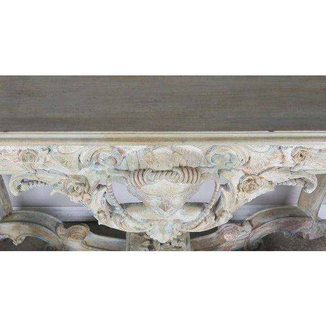 Early 20th Century French Carved Painted Console Table For Sale - Image 9 of 12