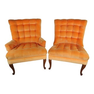 1970s Vintage Orange Velvet Pillow Tufted His and Hers Lounge Chairs - A Pair For Sale