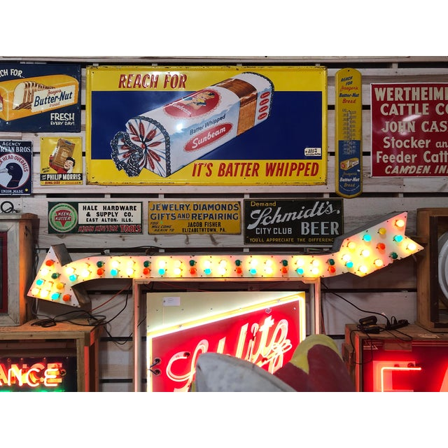 Industrial 1930's Light Up Arrow Sign For Sale - Image 3 of 8