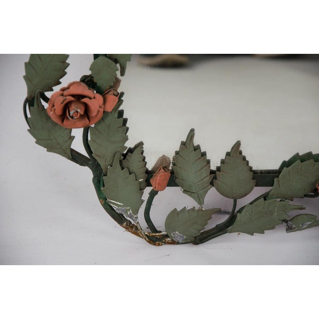 Mid-century Italian Toleware Rose Wall Mirror For Sale - Image 9 of 13