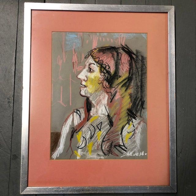 Gray Vintage Original Pastel Female Portrait Drawing Ny Label 1970's For Sale - Image 8 of 8