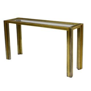 "Romeo Rega Mid Century Modern Italian ""Modernist Glam"" Brass Chrome Steel Glass Console"