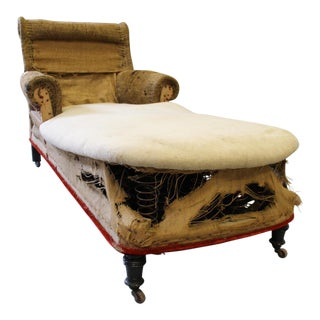 Napoleon III Chaise Lounge With Scrolled Back & Original Casters For Sale