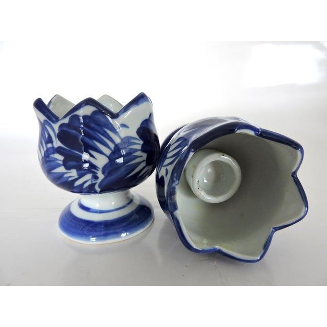 Blue & White Asian Pottery Candle Holders - A Pair For Sale - Image 4 of 6