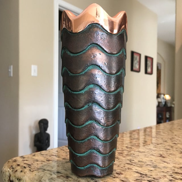 Contemporary Nambe Copper Canyon Vase Signed Lisa Smith For Sale - Image 3 of 9
