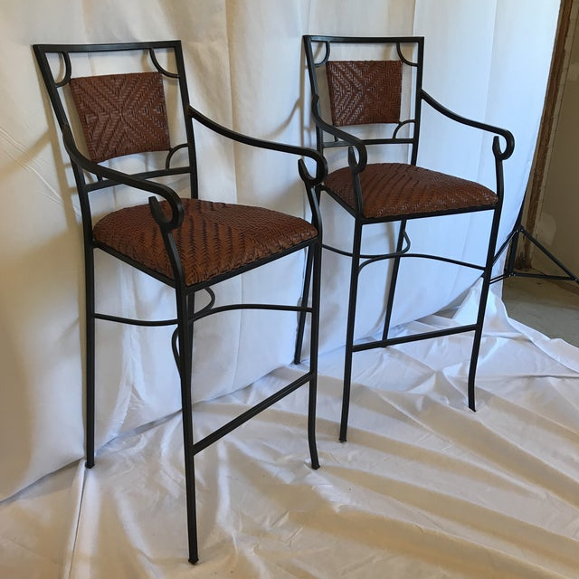 Boho Chic Iron and Woven Leather Bar Stools - a Pair For Sale - Image 3 of 12