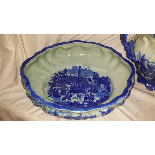 Vintage Chinese Flow Blue Pitcher & Wash Basin - A Pair - Image 8 of 10