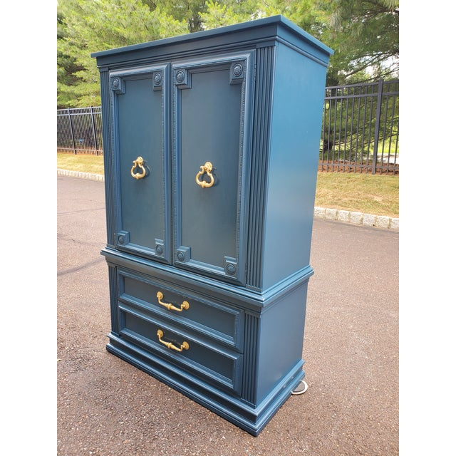 Vintage Moscow Midnight Blue Armoire For Sale - Image 9 of 12