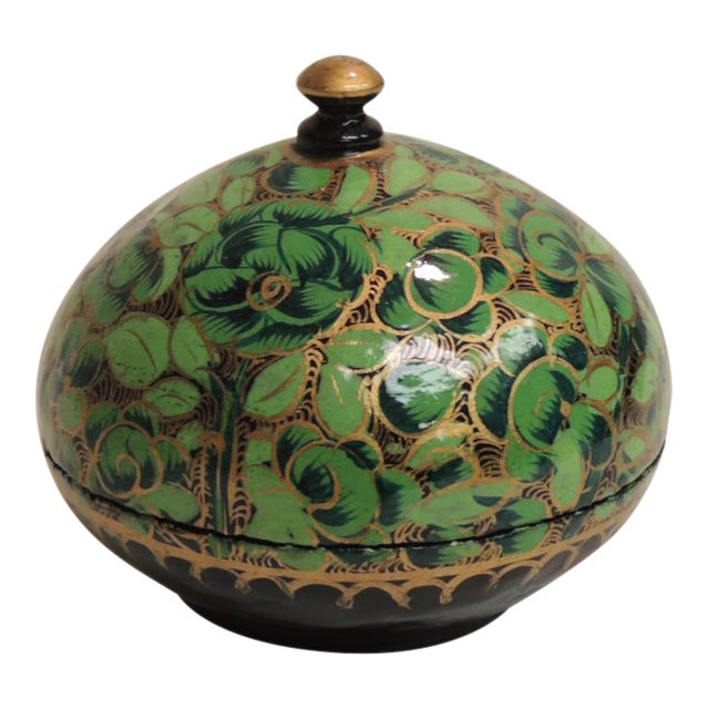 Small Vintage Hand Painted Indian Lacquered Box For Sale