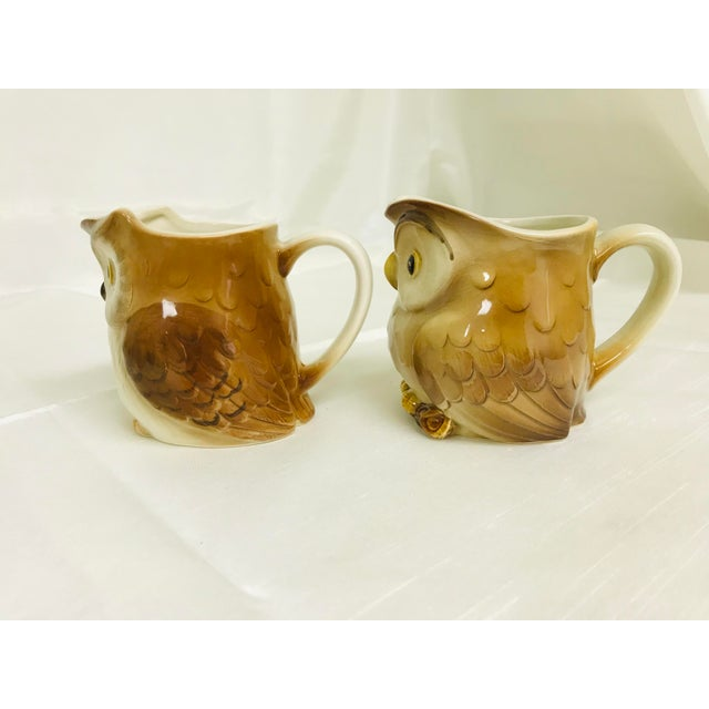 Super cute ceramic owl syrup/creamer pitchers by Otagiri from the 1980s.