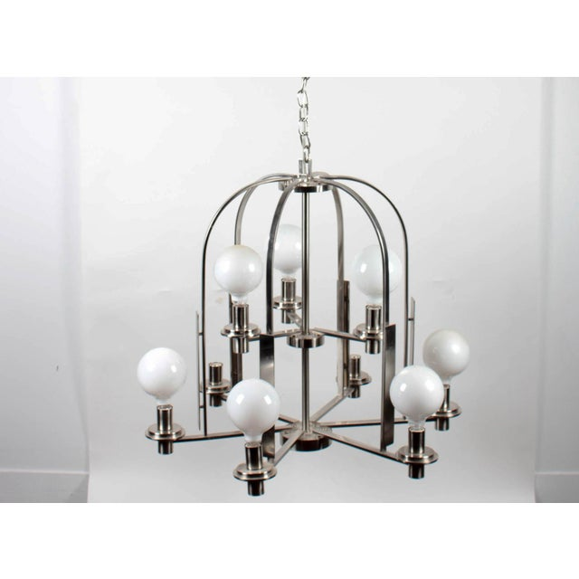 Brushed Metal 9-Lamp Modern Chandelier Label/mark: None Condition: Fixture has been previously installed and shows signs...