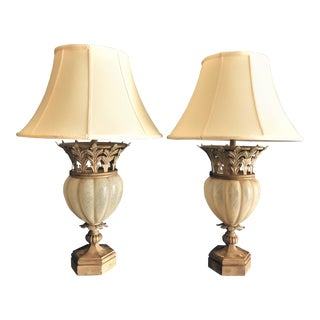 Lamps of Miami Lamp With Alabaster Modeled Glass and Metal Acanthus Leaf Details- a Pair For Sale