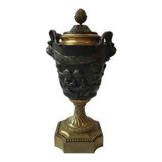1880s French Bronze Classical Urn For Sale