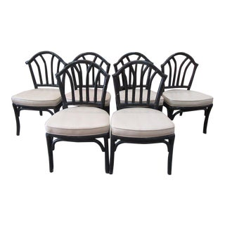 Rattan Dining Side Chairs- Set of 6 For Sale