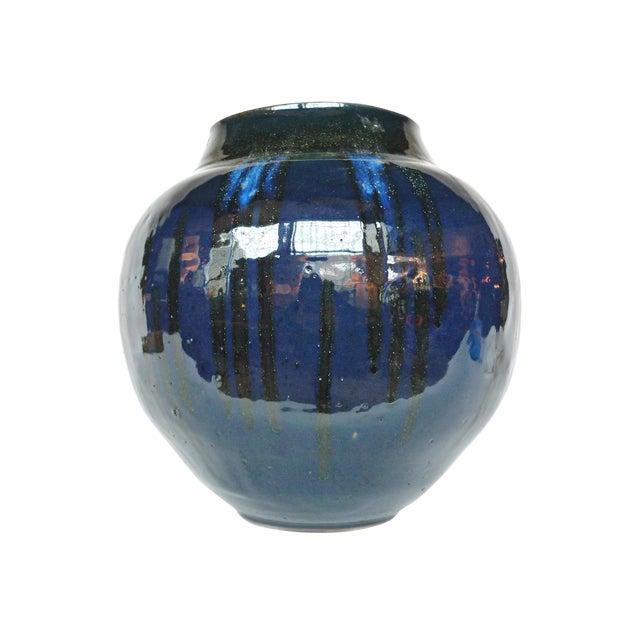Thom Lussier Midnight Blue Ceramic Vessel For Sale