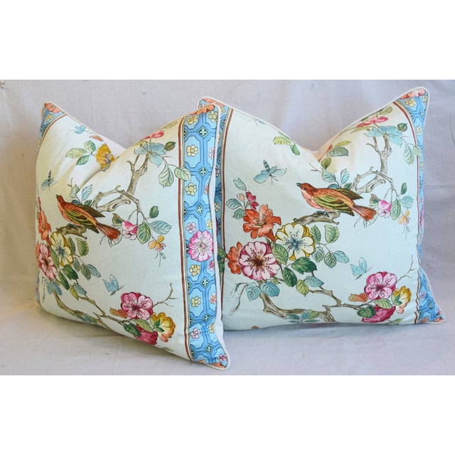 """English Chinoiserie Floral & Birds Feather/Down Pillows 24"""" Square - Pair For Sale - Image 9 of 13"""