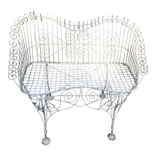 French Mesh Iron Garden Bench